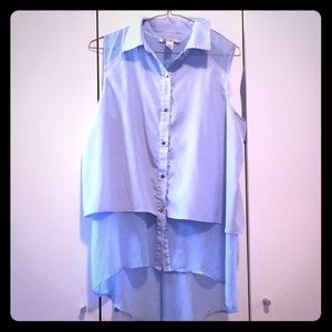 Pale blue /sheer Sleeveless Blouse Kenneth Cole